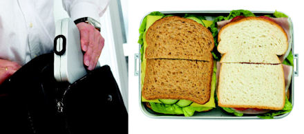 slimline lunchbox to save a bit of storage space for your laptop inside your briefcase or laptop bag