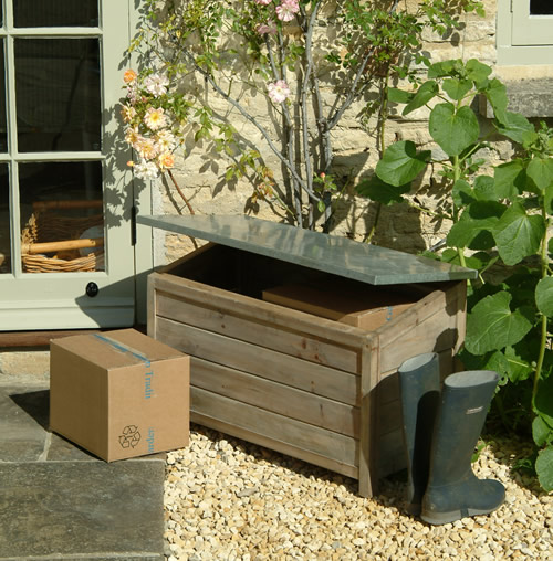 wooden garden chest for storing garden tools, outdoor toys, shoe storage etc etc.