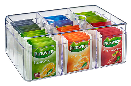Clear acrylic teabag storage box