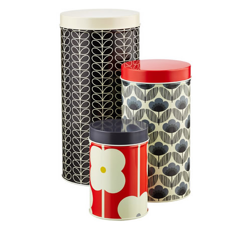 orla kiely kitchen storage canisters in blue and red
