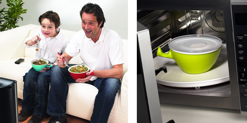 our smart loomm food storage bowl is available in a choice of lime green or red