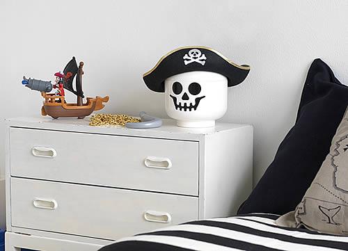 Giant LEGO Storage Figure Head - Halloween Skeleton shown bottom right