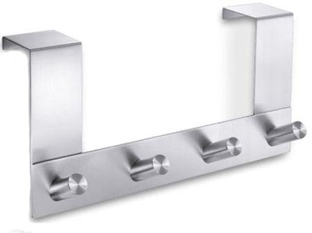 brushed stainless steel coat rack overdoor