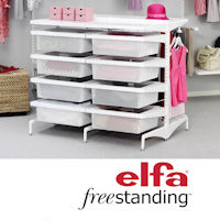 elfa freestanding shelving and storage system