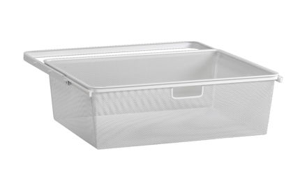 mesh elfa baskets white and integrated drawer frame
