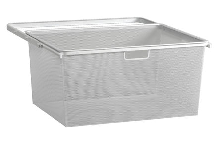 white mesh elfa basket drawers