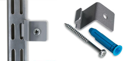 2 x Wall Clips for Elfa Wall Bars - Platinum