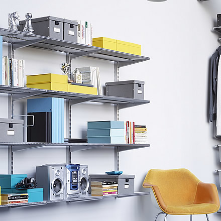 elfa office shelving solution home storage systems from