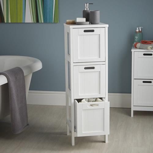Shaker Style 3 Drawer Storage Unit - Bathroom Storage Cabinets ...