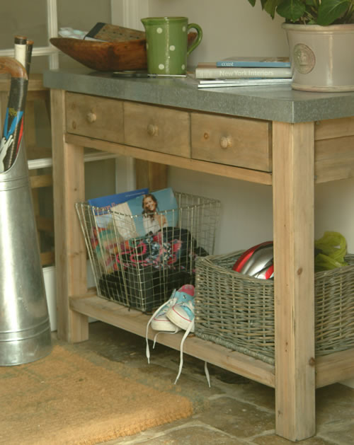 3 storage drawer potting up table with zinc top