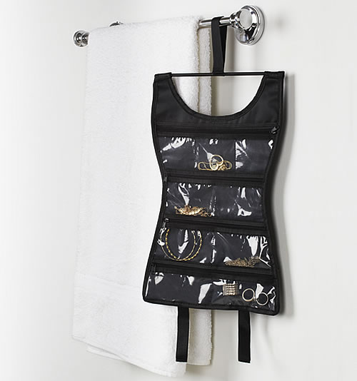 Mini little black dress hanging jewellery organiser