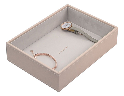 Deep open Stacker jewellery storage box in faux leather cream