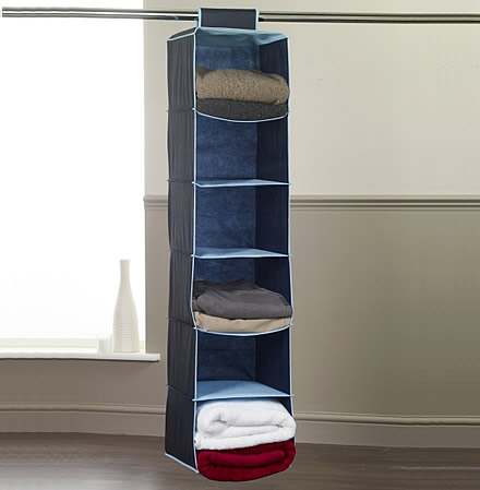 Hanging sweater organiser in blue