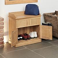 Oak Shoe Bench with Hidden Storage - Mobel