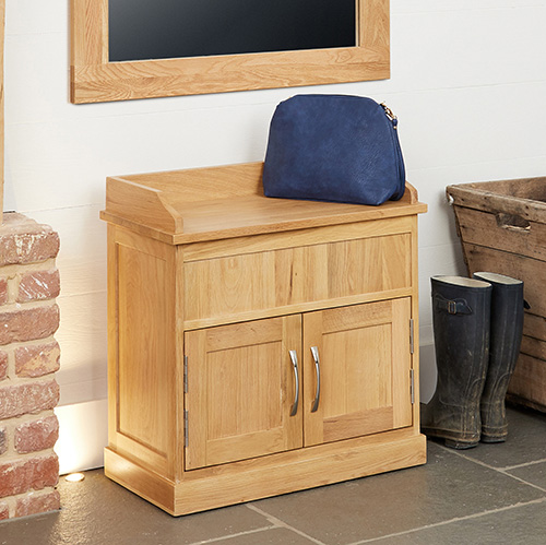 Oak Shoe Bench with Hidden Storage - Mobel