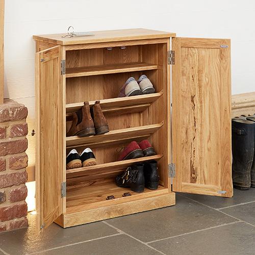 Solid Oak Shoe Storage Cupboard - Mobel - Shoe Cupboards