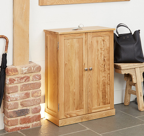 Mobel Solid Oak Furniture Shoe Storage Hallway Bench: Solid Oak Shoe Storage Cupboard - Mobel