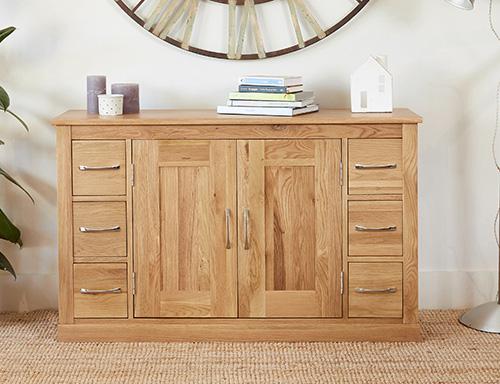 6 drawer solid oak side board
