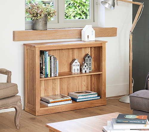 Low book case with two storage shelves
