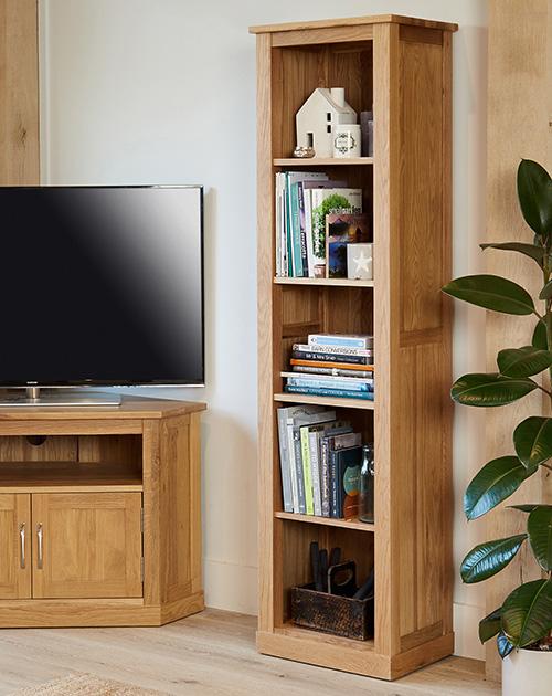 solid oak narrow bookcase mobel 30515 narrow bookcase mobel solid oak dvd