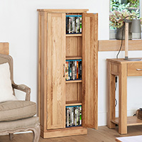 Solid Oak DVD & CD Storage Cupboard - Mobel
