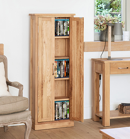 solid oak dvd storage cupboard