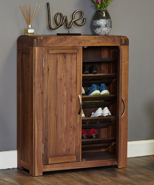 Solid Walnut Shoe Storage Cupboard - Shiro