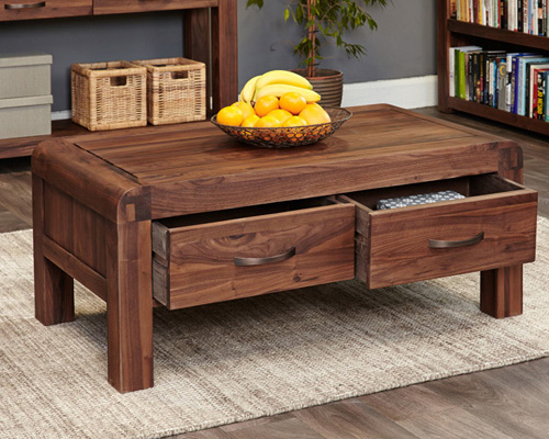 Solid walnut 4 drawer coffee table