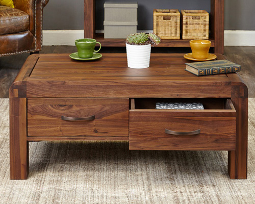 Store solid walnut coffee table with storage shiro for Coffee table 60cm x 60cm