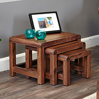 Nest of 3 Solid Walnut Tables - Shiro