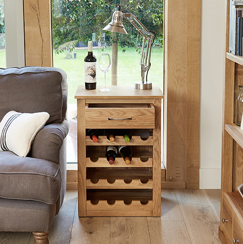 Solid oak wine rack lamp table