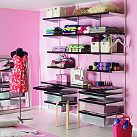 Elfa Craft Room Shelving and Desk Solution