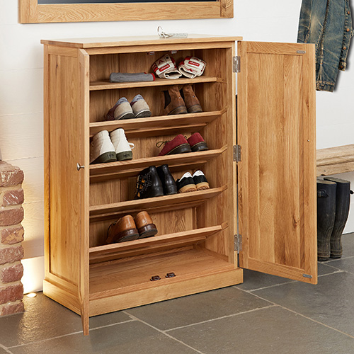 Solid oak shoe storage cupboard