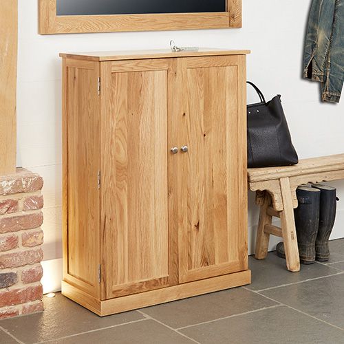 solid oak shoe storage cabinet