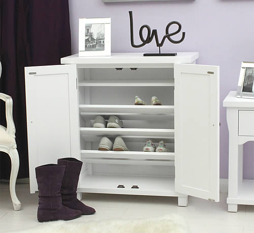 White Wood Shoe Storage Cabinet - Hampton