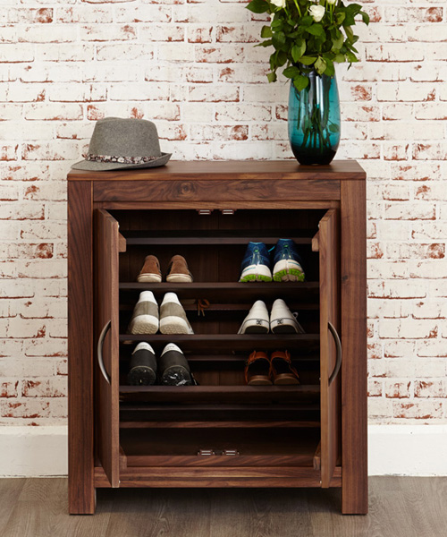 Solid walnut shoe storage cupboard for up to 20 pairs of shoes