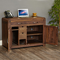 Solid Walnut Hidden Home Office - Shiro
