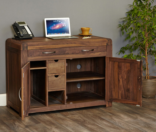 Solid Walnut Hidden Home Office - Shiro - Home Storage Systems From