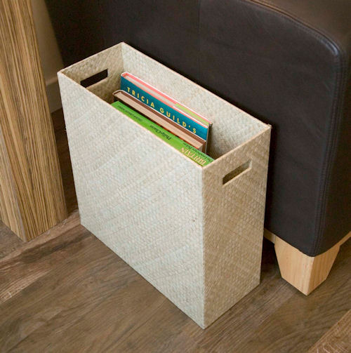 cream or brown pandan magazine rack and file storage box