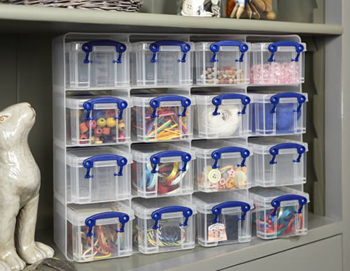 Craft storage drawers with 16 x 0.3 litre craft storage boxes - Really Useful Boxes