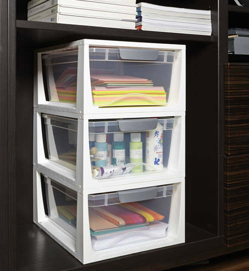 Stackable plastic drawers great for craft supplies