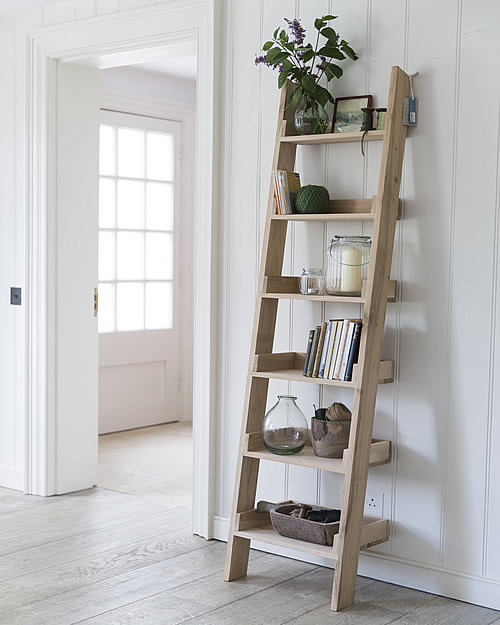 oak ladder shelf small home storage systems from store
