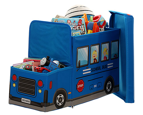 Children's Toy Storage Ottoman - Bus