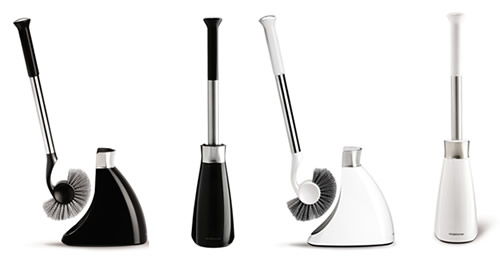 Slim toilet brush available in black or white