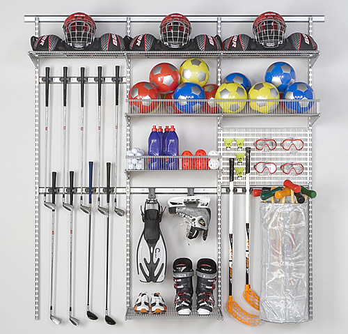 garage sports storage sports equipment storage best selling elfa solution 15731
