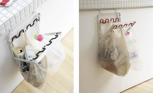 Over cupboard carrier bag bin