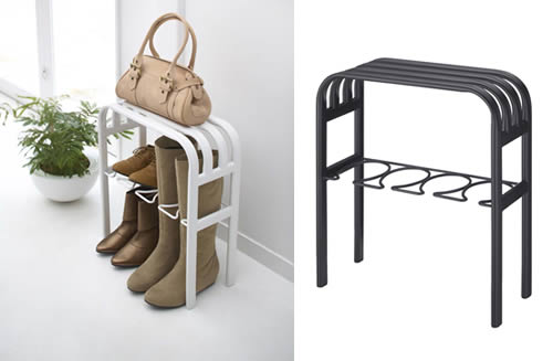 hallway bench and boot storage rack