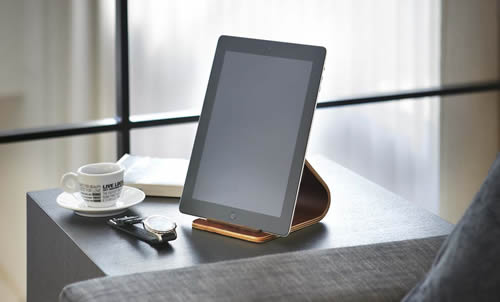 wooden tablet stand