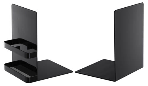 bookend with storage caddy in black