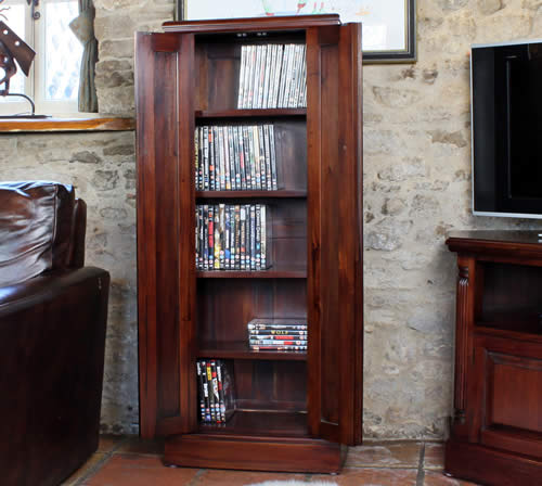 Mahogany CD & DVD Storage Cupboard